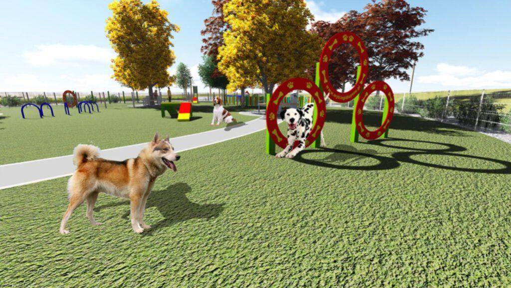 Wizualizacja urządzeń zabawowych dla psów.