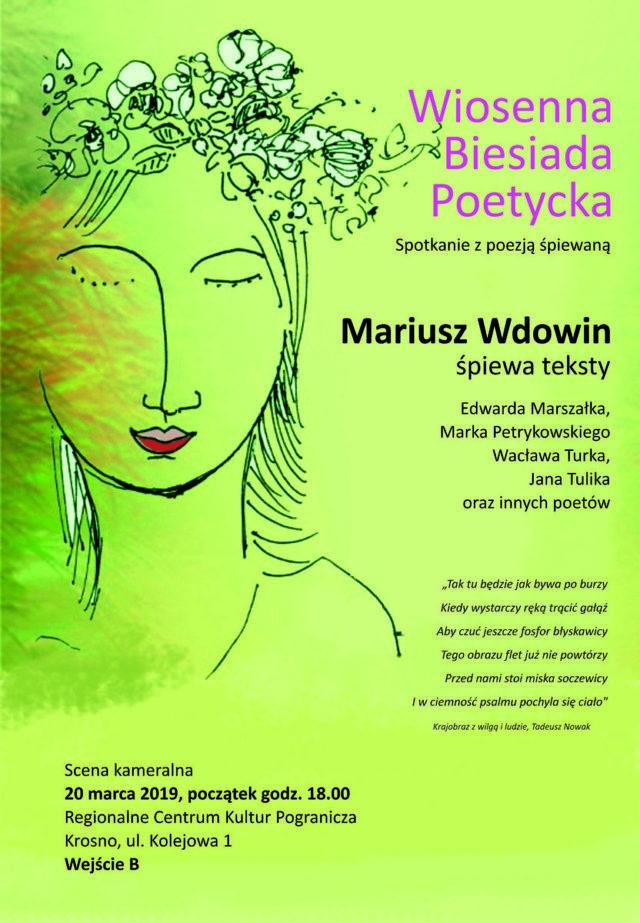 Plakat zapraszający na Wiosenną Biesiadę Poetycką w RCKP