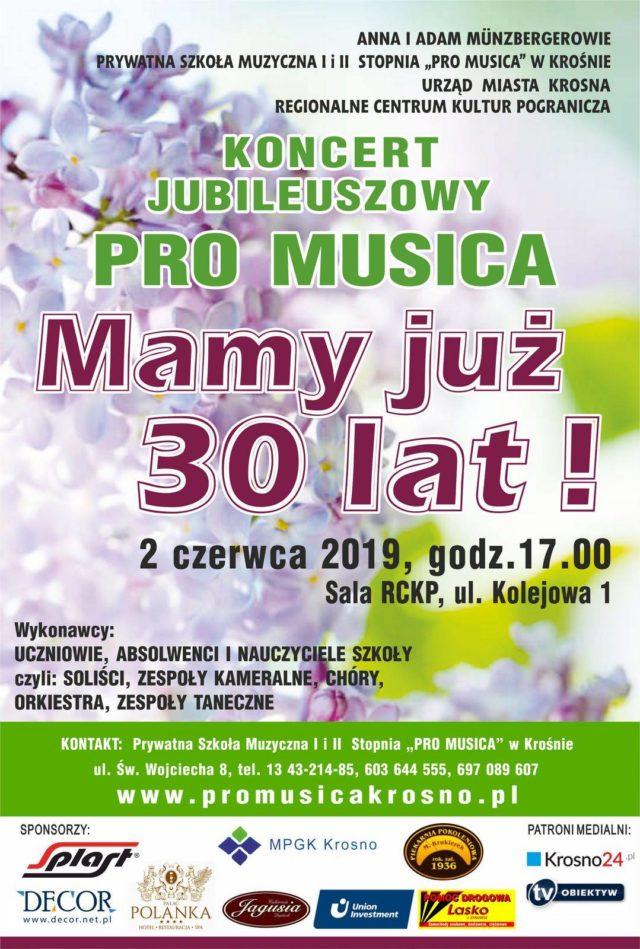 Koncert z okazji 30-lecia prywatnej szkoły muzycznej Pro Musica w Krośnie odbędzie się 2 czerwca o godz. 17.00. w Regionalnym Centrum Kultur Pogranicza w Krośnie