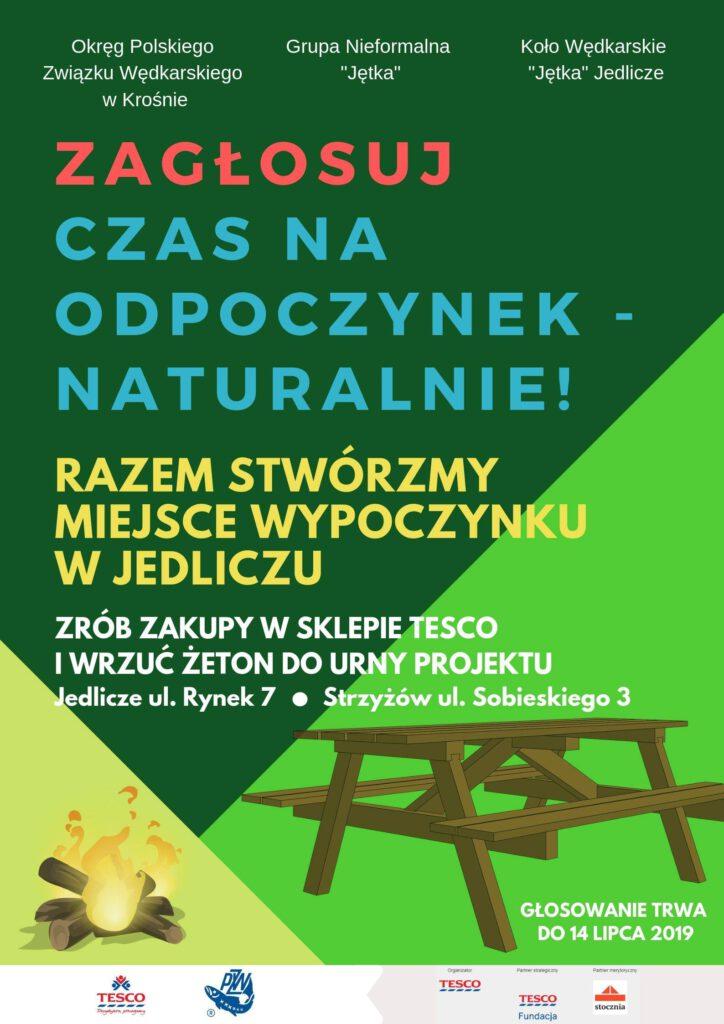 Grupa nieformalna Jętka z Jedlicza planuje stworzyć, w dolinie Jasiołki miejsce do rekreacji i odpoczynku. Ubiega się o grant fundacji Tesco
