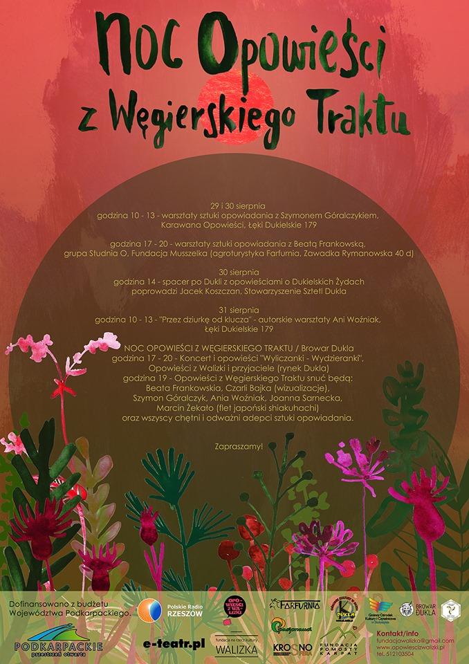 Plakat 10-tych urodzin Opowieści z Walizki, w programie warsztaty z opowieści, opowieści, spacer