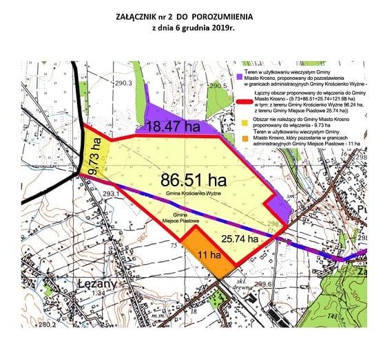 Podział terenu Lotniska Iwonicz