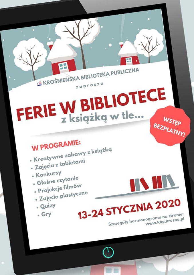 Zajęcia dla dzieci w okresie ferii 2020 w Krośnieńskiej Bibliotece Publicznej