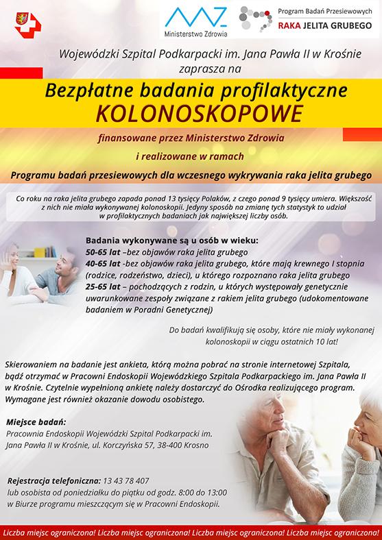 Szpital w Krośnie zaprasza na profilaktyczne badania kolonoskopowe